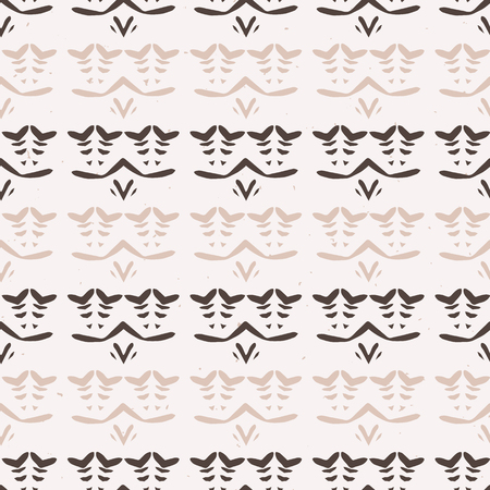 Abstract Stripes Folk Art Texture Seamless Vector Pattern. Winter White Boho