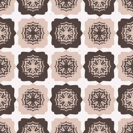 Star Quilt Folk Art Texture Seamless Pattern. Hand Drawn Square Tiles