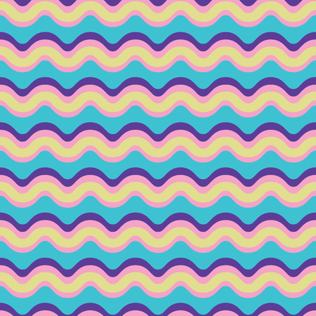 Curved Lines Pattern Seamless Vector Pattern. Wavy Stripes Texture Illustration for Trendy Home Decor, Rainbow Fashion Prints, Retro Wallpaper, Patterned Textiles. 1970s Style Gift Wrap Background.