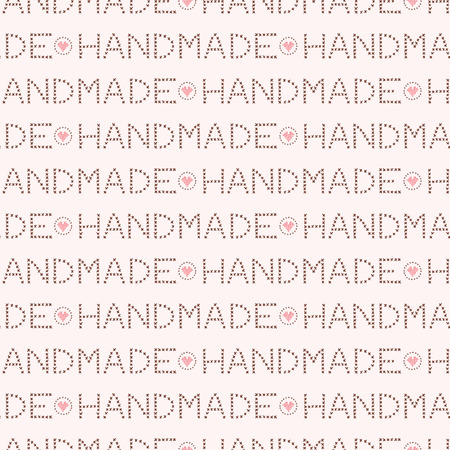 Handmade love lettering seamless pattern. Hand drawn flat style knit crafters words vector illustration. For fabric prints, trendy background textures, creative craft packaging or pastel hobby decor.