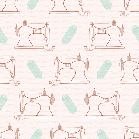Retro Vintage sewing machine seamless pattern Hand crafts