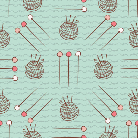 Pin Cushion Needles seamless pattern Sewing Hand Crafts Stockfoto