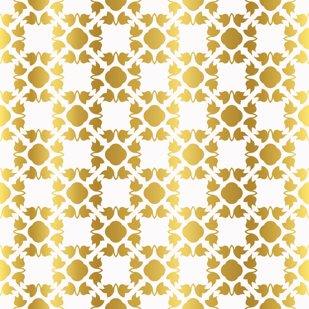 Metallic Gold on White Flower Silhouette Seamless Vector Pattern. Foiled Geometric Floral for Elegant Party Invitation, Wedding Stationery, Festive Gift Wrap Trendy Textures. Classy Glamour Backdrop