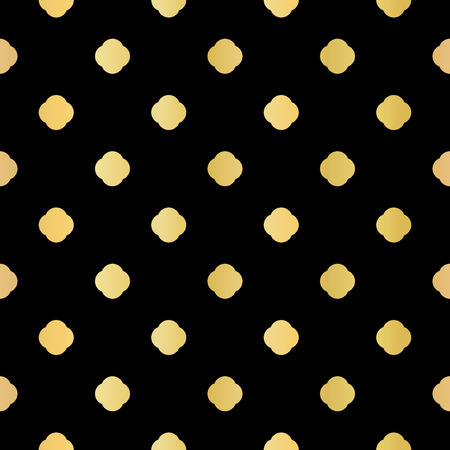 Metallic Gold on Black Polka Dot Seamless Vector Pattern. Foiled Geometric Circle for Elegant Party Invitation, Wedding Stationery, Festive Gift Wrap Trendy Textures. Classy Glamour Backdrop