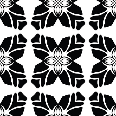 Black on White Leaf Quilt Vector Pattern. Hand Drawn Seamless Decorative Patchwork Graphic for Packaging, Modern Fashion Prints, Stationary, Paper Goods or Trendy Wrap. Monochrome All Over Background