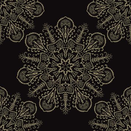 Floral Arabesque Mandalas Seamless Vector Pattern, Hand Drawn Boho Ornament Flourish Illustration for Trendy Home Decor, Yoga Fashion Print, Ethnic Indian Style Tattoo Design. Meditation Background.