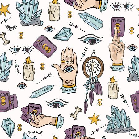 Seamless Border Spiritual Symbols Tarot Card Vektorové ilustrace