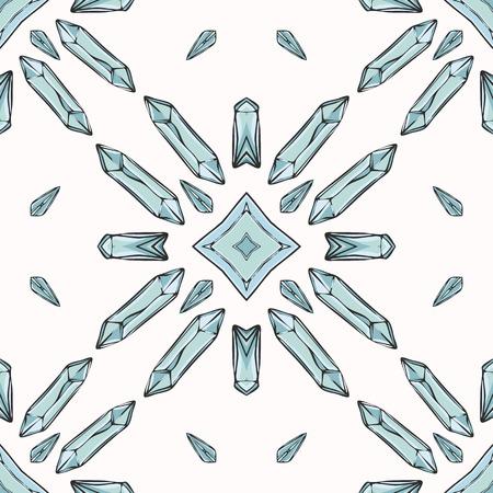 Sacred Esoteric Quartz Crystal Magic. Seamless Vector Pattern Drawing. Precious Stone Energy Mandala. Earth Energy Consciousness Symbol. Spiritual Concept Gemstone Meditation Healing. Turquoise Blue