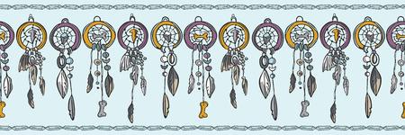 Heilige esoterische Dreamcatcher nahtlose Vektor-Grenze. Native American Indian Spirituelle Symbole. New-Age-Boho-Illustration. Ethnische Feder, Knochen, Kristallmeditation. Lila Türkis Banner