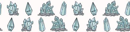 Magie du cristal de quartz ésotérique sacré. Bordure vectorielle continue dessinée à la main. Bannière d'énergie de pierre précieuse. Symboles de conscience de l'énergie de la Terre. Concept spirituel Guérison de la méditation des pierres précieuses. Bleu turquoise