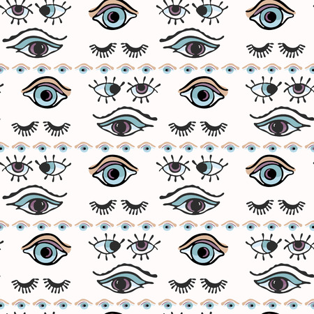 Magic All Seeing Eye Hand Drawn Seamless Vector Pattern