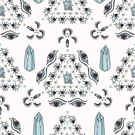 Trendy Quartz Crystal Magic Seamless Vector Pattern