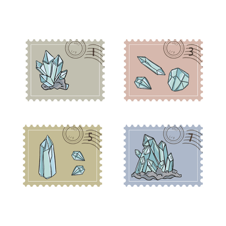 Minerology Quartz Crystal Postage Stamps. Hand Drawn Seamless Vector Illustration Icon Set. Sacred Precious Stone Postal Stationery for Meditation Journal, Mail Art, Boho New Age Packaging Washi Tape.