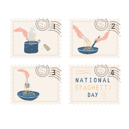 National Spaghetti Day Postage Stamps. Hand Drawn Vector Illustration Icon Set. Cooking Pasta Food. Noodles Pot, Bowl, Pan for Cookery Blog, Italian Restaurant Menu, Fun Italian Mail Art Celebration