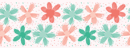 Vector Coral Flowers Sprinkles Seamless Repeat Border. Floral Confetti Circles 1950s Style Peachy Background. Modern Trendy Summer Fashion Ribbon Trim, Washi Tape Stationery, Retro Paper Packaging