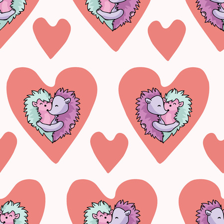 Vector cute hedgehog hug hearts. Seamless repeat pattern. Hand drawn 2 spiny animals inside red love heart for romantic valentines day, wedding or anniversary celebration background. Free hug concept. Illustration