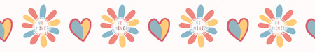 Romantic rainbow I love you daisy flower. Hand drawn seamless vector border