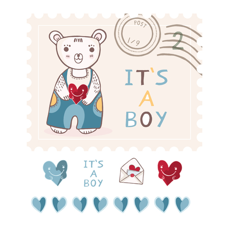 Cute its a boy teddy bear postage stamp vector elements set. New baby announcement in blue cartoon style. Hand drawn adorable babies shower illustration.
