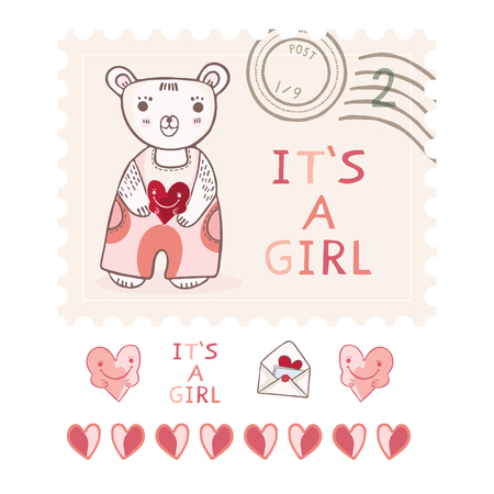 Cute its a girl teddy bear postage stamp vector elements set. New baby announcement in pink cartoon style. Hand drawn adorable babies shower illustration.