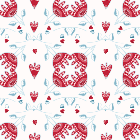 Geometric floral damask hand drawn seamless vector pattern. All over print with red blue style hearts. Illustration for textiles, St Valentines Day, weddings, love birthday background.