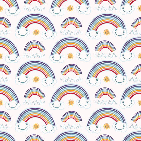 Cute vector cartoon weather with rain, sun happy clouds and rainbow. Seamless repeat pattern with raindrops. Flat color in kawaii face style for kids. 矢量图像