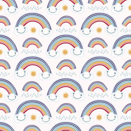 Tiempo de dibujos animados lindo vector con lluvia, sol nubes felices y arco iris. Repetición de patrones sin fisuras con gotas de lluvia. Color plano en estilo de cara kawaii para niños. Ilustración de vector