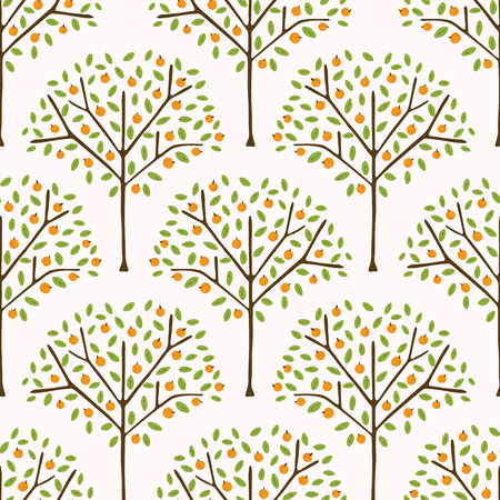 Orange citrus fruit tree with leaves. Hand drawn seamless vector pattern illustration. Organic garden grove with juicy oranges hanging on branch. Healthy vitamin food background.