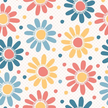 Fleurs pastel audacieuses de vecteur à pois. Modèle vectorielle continue dessiné à la main. Imprimé floral de printemps et d'été dans une simple couleur marguerite plate.