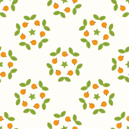 Juicy whole orange citrus fruit wreath with leaves. Hand drawn seamless vector pattern illustration. Fresh tropical food design grove harvest background. Ilustrace