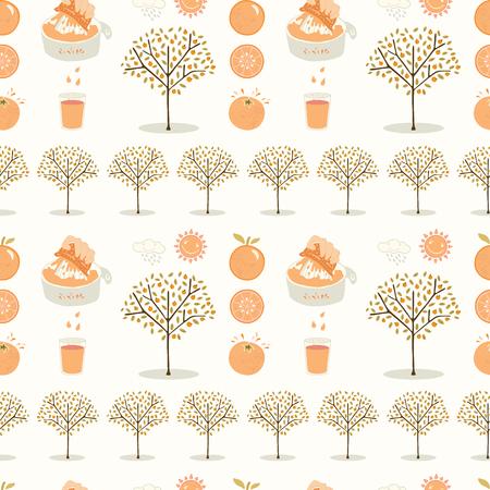 Vector orange tree grove. Hand drawn seamless vector pattern illustration. Organic garden with juicy oranges, citrus fruit and freshly squeezed juice for growing produce farm backdrop. Ilustración de vector