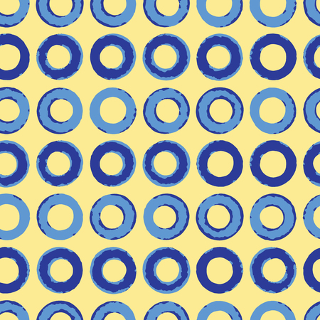 Abstract Indigo Blue Circles Seamless Vector Pattern, Hand Painted Geometric Polka Dots Illustration for Trendy Home Decor, Summer Fashion Prints, Wallpaper, Textiles. Gift Wrapping Background. Фото со стока - 117010553