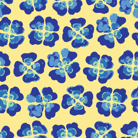 Bright Summer Plaid Floral Seamless Vector Pattern. Hand Painted Viola Pansy Flower Blooms llustration for Trendy Fashion Prints, Beachwear, Packaging, Paper Goods , Blue Green Yellow Backdrops.