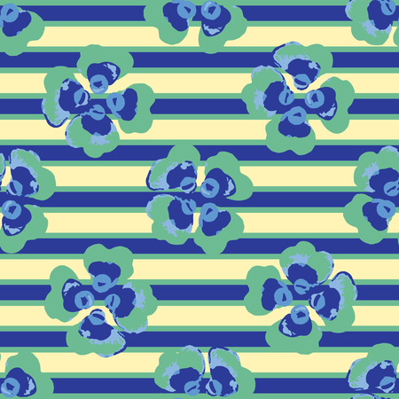 Bright Summer Flower Stripes Seamless Vector Pattern. Hand Painted Viola Pansy Floral Blooms llustration for Trendy Fashion Prints, Beachwear, Packaging, Paper Goods , Blue Green Yellow Backdrops.