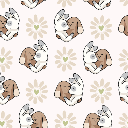 Vector cute bunny hug daisy love hearts. Seamless repeat pattern. Hand drawn 2 rabbit hares hugging for romantic valentines day, wedding or pet anniversary background. Free hug concept.