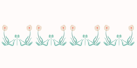 Vector Wildflower Border. Horizontal Dandelion Blooms, Cute Weed Flower on White Background. Hand Painted Blossom for Spring Stationery, Eco Friendly Floral Garden Packaging. Vintage Retro Ecru Green Illustration