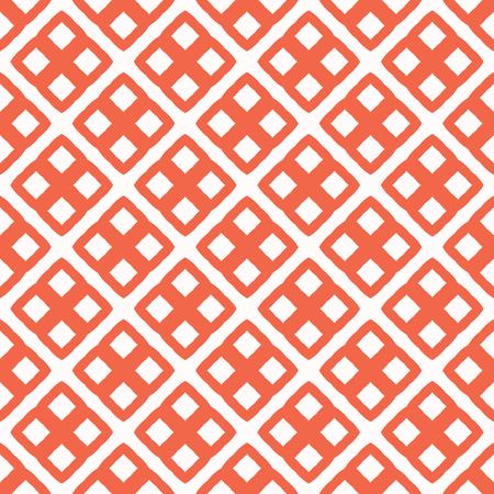 Cuadrícula de cuadrados abstractos. Patrón de textura de vector transparente. Malla cuadrada cruzada dibujada a mano en estilo de la década de 1950 para decoración del hogar de moda, papel tapiz, estampados de moda, textiles, telón de fondo. Vintage rojo, blanco, azul
