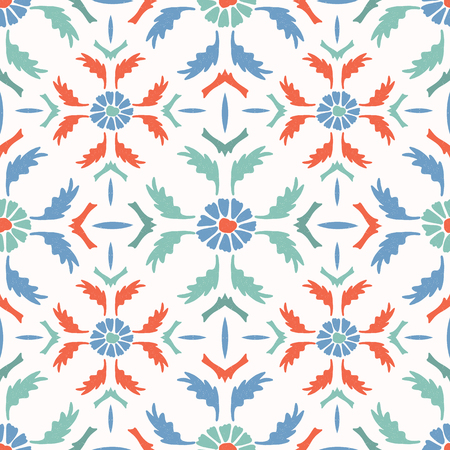 Bright Folk Art Daisy Quilt All Over Print Vector. 1950s Style Daisies Leaves Seamless Repeating Pattern on White Background. Hand Painted for Summer Fashion Print, Stationery, Retro Garden Packaging.