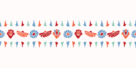 Vector Flower Border. Horizontal Colorful Blooms in Folk Art Style on White Background. Hand Painted Blossom for Spring Stationery, Scrapbook, Floral Garden Packaging. Vintage Retro Red Teal Blue