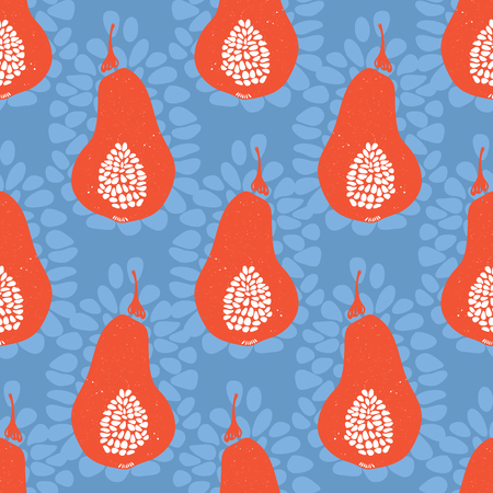 Folk Fruit Pear Seamless Vector Pattern Illustration. Drawn in Blockprint Style. Colorful Hand Painted Healthy Summer Food for Market Stall Decor, Fashion Textile, Scrapbook, Kitchen Garden Packaging.