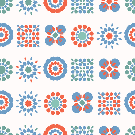 Retro Folk Flowers All Over Print Vector. Colorful Floral Quilt Blooms Seamless Repeating Pattern in 1970s Style on Purple Background. Trendy for Fashion Prints, Kitchen Tile Grid, Floral Packaging.