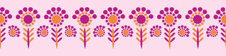 Retro Daisy Blooms Seamless Border Vector. Colorful Folk Flowers Stems Banner in Vintage 1970s Style on Pink Background. Trendy for Girly Stationery, Floral Packaging, Kitchen Ware, Isolated Edgings