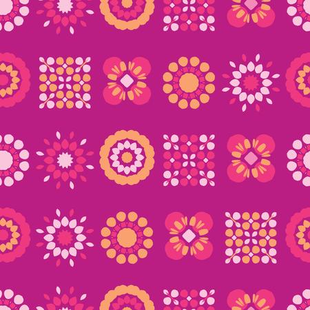 Fleurs folkloriques rétro sur tout le vecteur d'impression. Une courtepointe florale colorée fleurit un motif répétitif sans couture dans le style des années 1970 sur fond violet. Tendance pour les imprimés de mode, la papeterie Girly, les emballages floraux. Vecteurs
