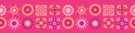 Retro Flowers Quilt Squares Seamless Border Vector. Colorful Folk Flowers Banner. Vintage 1970s Style on Pink Background. Trendy for Girly Stationery, Floral Packaging, Kitchen Ware, Isolated Edgings Vettoriali