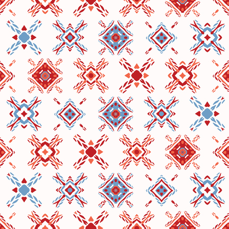 Retro Folk Flowers Quilt Squares Seamless Vector Pattern. Colorful Folk Flowers. Vintage 1970s Style on White Background. Trendy for Handicraft Stationery, Floral Wrap, Kitchen Ware, Isolated Edging Illustration