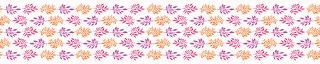 Pretty Boho Leaf Seamless Vector Pattern. Hand Drawn Paper Cut Leaves. Feminine Scandi Style Illustration for Trendy Textile Fashion Prints, Elegant Nature Packaging. All Over Pastel Orange Purple  イラスト・ベクター素材