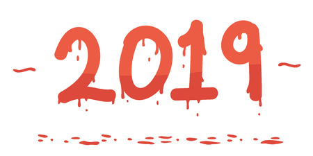 Hand Painted 2019 Bleeding Numbers Vector Illustration Red