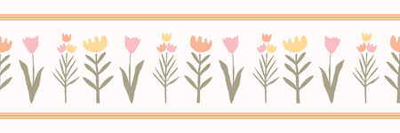 Spring Flowers Seamless Vector Border. Soft Pastel Colors. Paper Cut Collage Blooms on White Background. Drawn Stylized Tulip Blossom Stem for Garden Stationery, Ribbon, Eco Friendly Floral Packaging. Illustration