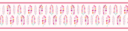 Spring Flowers Seamless Vector Border. Soft Pastel Colors. Hand Drawn Bud Blooms on White Background. Drawn Stylized Tulip Blossom Stem for Garden Stationery, Ribbon Trim, Pretty Floral Packaging.