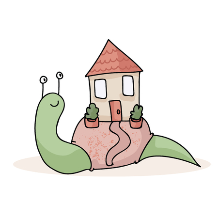 Cute Snail House Spot Illustration for House Warming