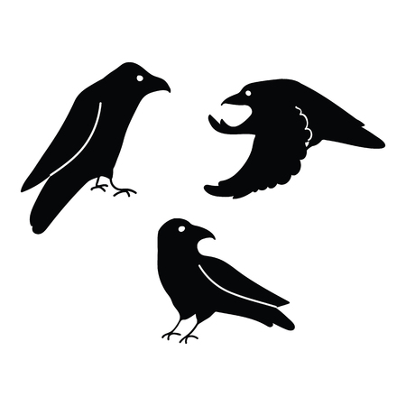 Witchy Crows Vector Illustration Mystic Familiar Character for Magic. Flatcolor hand drawn crow silhouette for halloween clipart.
